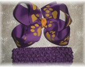 Baby Headband and Bow - LSU Tigers Inspired Hair Bow and Headband SET - Purple Ribbon with Gold Paw Prints
