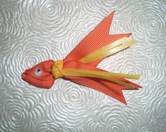 Fish Hair Bow, Fish Clip, Goldfish Hairbow, Ribbon Hair Bow Clip