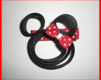 RED Dots Minnie Inspired Character Ribbon Hair Bow Clip,  Mouse Hair Bow