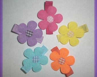 Felt Flower Hair Bow, Baby Bows - Felt Flower Hair Clip Set of 5
