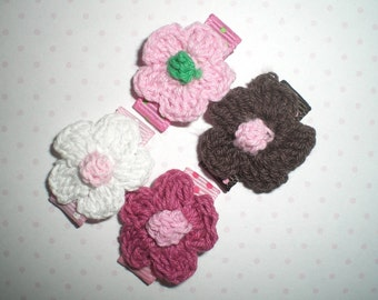 Baby Snap Clips, Baby Hair Bows, Flower Hair Clips - SET of 4 No Slip Clips - Stay in Fine or Thin Baby Hair