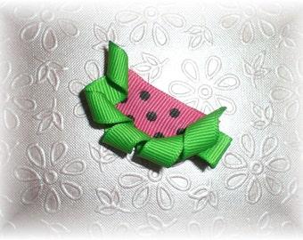 Pink Watermelon Hair Bow - WATERMELON SLICE Summer Hair Clip