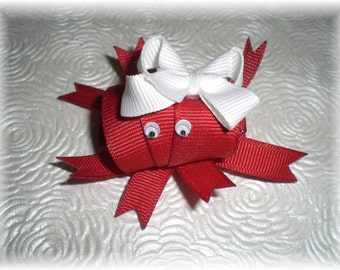 Crab Hair Bow, CRABBY Hair Clip...RED Miss Crab Ribbon Clip...Adorable, Unique and a Must Have for Your Girl