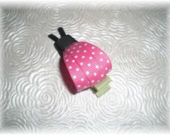 Hot Pink LADYBUG Hair Clip - Adorable Ribbon Bug Bow