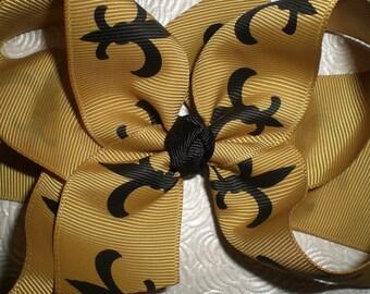 WHO DAT Saints Inspired Hair Bow, Fleur de Lis Bow, Football Bow - Gold with Black Fleur de Lis
