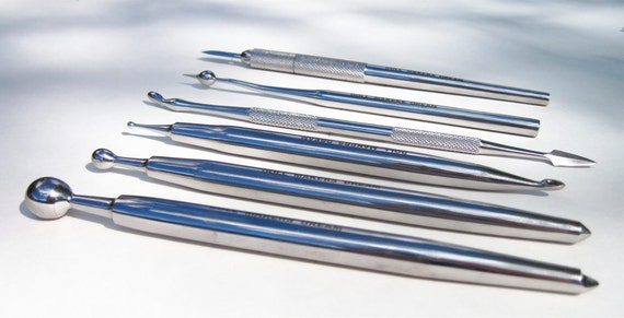 6 Stainless Steel Sculpting Tools- Double Ended (10 tools) For OOAK Polymer Clay Doll Sculptures