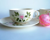Vintage 1940s Crooksville China Dinner Rose Cup and Saucer Set