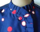 Vintage Blue Blouse Red and White Dots