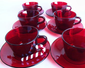 Vintage 1970s Ruby Red Cup and Saucer 12- Piece Set