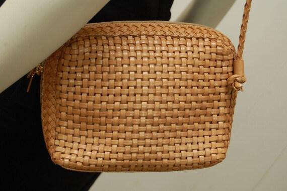 Vintage Tan Brown Woven Leather Purse, Mini Bag