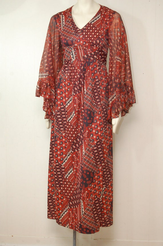 Vintage Red Bohemian Caftan Dress