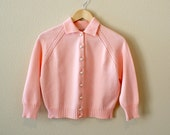 1950s Cardigan -- Remember When --  vintage 1950s Pale Pink knit Cropped cardigan