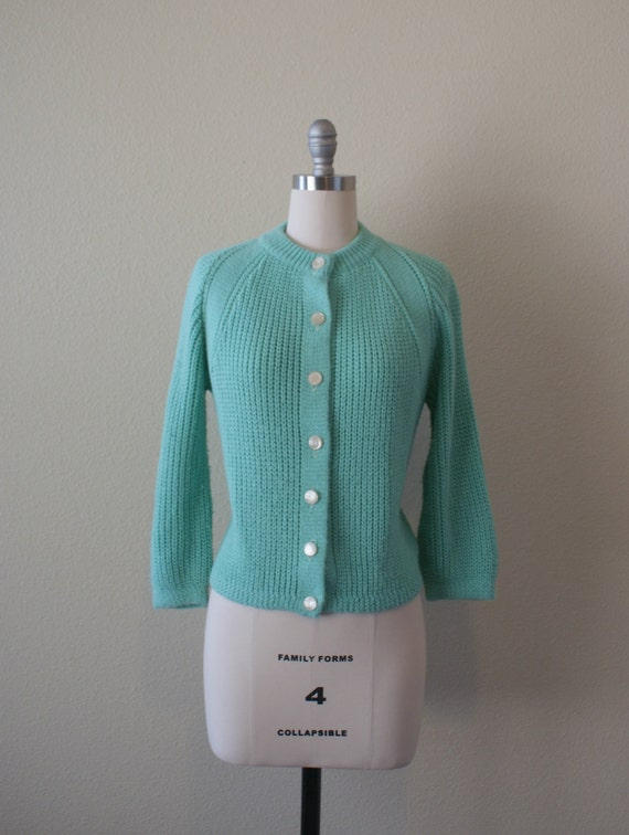 1950s Cardigan -- Button Front Knit Cardigan -- Seaglass green knit