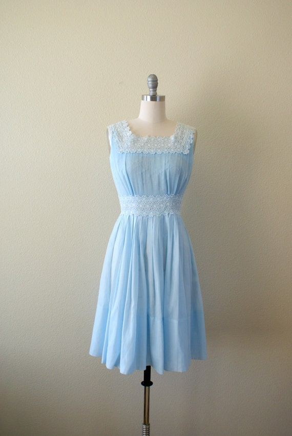 Vintage 1960s Dress Light Blue Sundress Micropleat