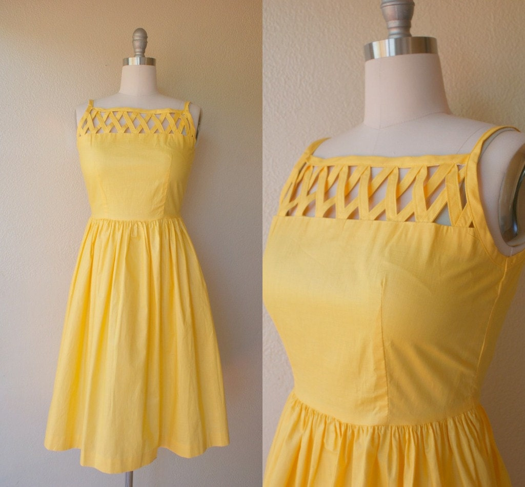 Old Glory vintage 1980s golden yellow sundress small