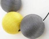 Large Hand Wrapped Bead Necklace Gunmetal Grey and Yellow
