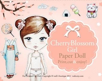 Cherry Blossom Girl -INSTANT DOWNLOAD Printable Paper Doll & envelope