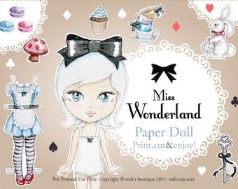 Miss Wonderland - Alice in wonderland Paper Doll INSTANT DOWNLOAD Paper Doll & Envelope