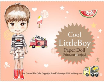 Cool Little Boy Paper Doll - Printable Paper Doll & envelope