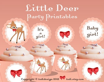 Baby Shower Party Printables - Little Deer Cupcake Toppers and Wrappers