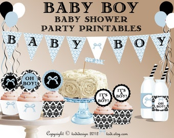 Baby Boy - INSTANT DOWNLOAD Blue Damask Baby Shower Party Printables