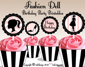 Fashion Doll Party Printables - Birthday party, Bridal Shower-  Cupcake Toppers and Wrappers INSATNT DOWNLOAD