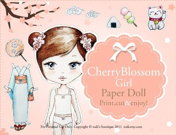 Cherry Blossom Girl -INSTANT DOWNLOAD Printable Paper Doll & envelope