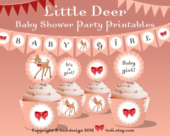 Baby Shower Party Printables& invitation Design - Full Little Deer Party