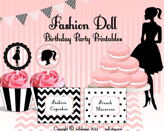 Items similar to Fashion Doll Party Printables Food Tent Cards – Fashion Birthday Cards