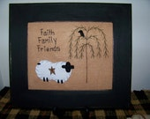 SHEEP PICTURE Crow 8x10 unframed Primitive Stitchery prim sign willow tree FAITH FAMILY FRIENDS Hand-stitched country decor penny rug rustic cabin lodge look americana rusty barn star grungy wv make do colonial homespun gift idea everday  FREE US SHIPPING