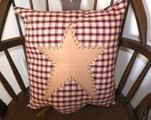 UNSTUFFED Primitive Pillow Cover Barn Star Prim Country Red Sofa Cushion Home Decor Decoration Stitchery Penny Rug Rustic Prim Plaid New