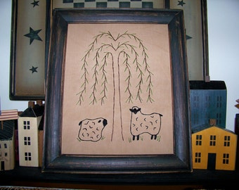 UNFRAMED Primitive Stitchery Sheep Willow Tree Rustic Country Home Decor Decoration Prim Grungy Picture Prim Decorative Stitched wvluckygirl