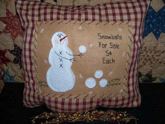 Primitive Snowman Pillow Or Picture Prim Stitchery By