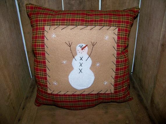 Decorative Primitive Pillows : Primitive Snowman PIllow Country Rustic Home Decor Decoration