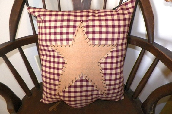 UNSTUFFED Primitive Pillow Cover Barn Star Prim By Wvluckygirl