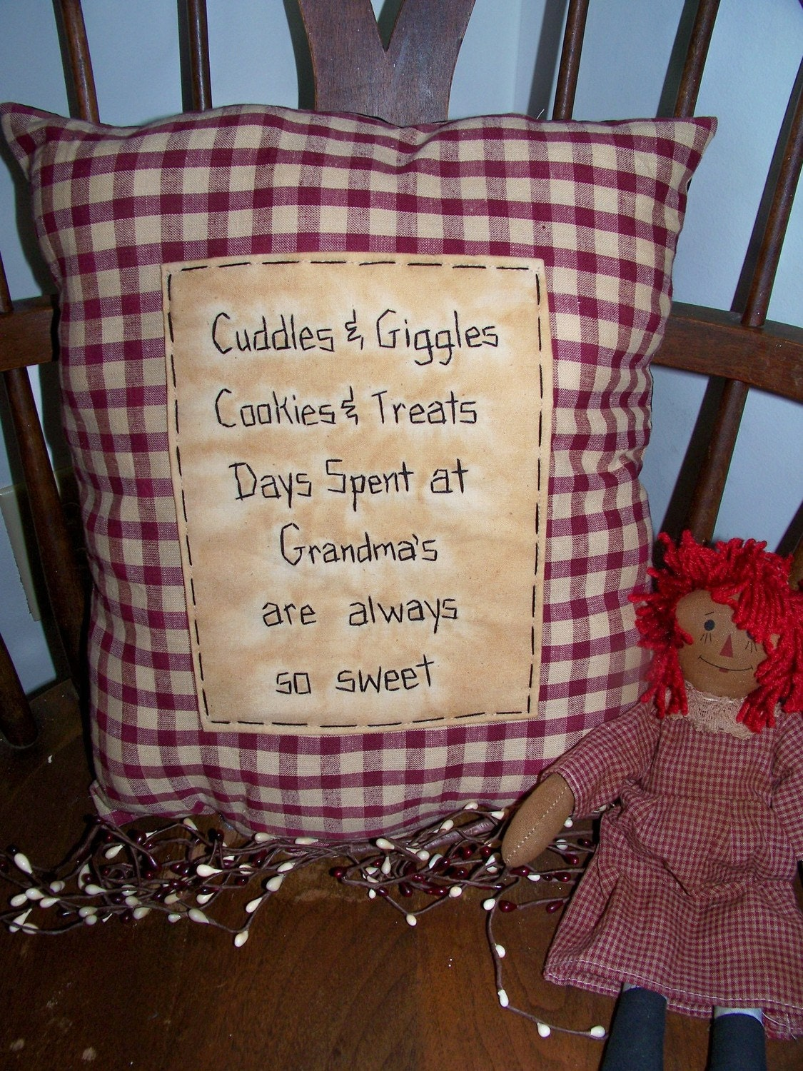 New Grandma Pillow Primitive Stitchery Country Decor Grungy