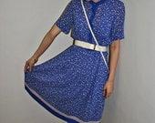 The '70s Liberty Print Cobalt Blue Pleated Dress