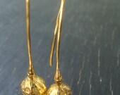18K Vermeil Poppy Pod Long Hoops -- Nature Cast -- Poppy Earrings -- Botanical Jewelry