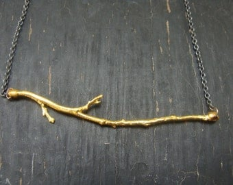 18K Gold Vermeil Branch Pendant with Oxidized Sterling Chain Necklace
