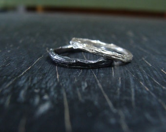 Small Pine Branch Ring, Stackable Band -- Twig Engagement Ring