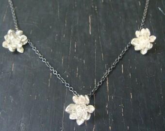 3 Miniature Flower Rosettes Necklace