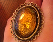 Gold Cabochon Adjustable Ring