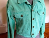 Vintage Green/Teal/Mint Cotton Denim Womens Jacket S