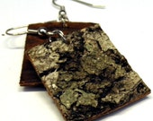 Birch Bark Earrings...with a touch of lichen