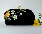 Hand Painted Vintage Purse with Coin Purse- Tropical Canary