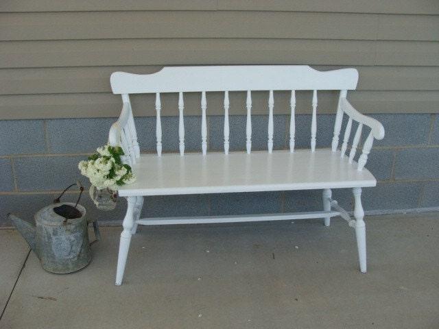 Vintage White Cottage Bench