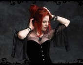 Gossamer Mesh Fairy Top / Shirt with Tied Bell Sleeves - Custom Elegant Gothic Clothing and Dark Romantic Couture