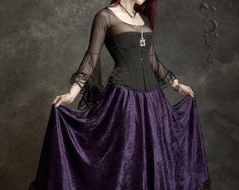 Liseron Floor Length Long Velvet Romantic Fairy Skirt - Custom Elegant Gothic Clothing and Dark Romantic Couture