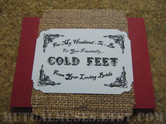 Potentially Cold Feet Sock Wrap for Grooms - Red / Burlap Flap