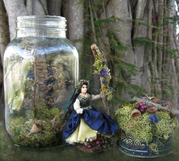 Dollhouse Doll Half Scale Illuminated Pixie Iris in Mason Jar 1:24 scale